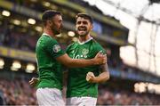 10 June 2019; Robbie Brady, right, celebrates with his Republic of Ireland team-mate Enda Stevens after scoring his side's second goal during the UEFA EURO2020 Qualifier Group D match between Republic of Ireland and Gibraltar at Aviva Stadium, Lansdowne Road in Dublin. Photo by Stephen McCarthy/Sportsfile