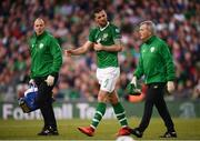 10 June 2019; Shane Duffy of Republic of Ireland with Dr Alan Byrne, team doctor, right, and physiotherapist Ciaran Murray, left, during the UEFA EURO2020 Qualifier Group D match between Republic of Ireland and Gibraltar at Aviva Stadium, Lansdowne Road in Dublin. Photo by Stephen McCarthy/Sportsfile