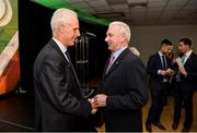 11 June 2019; Republic of Ireland manager Mick McCarthy exchanges a handshake with Al Finucane, who made 634 league of Ireland appearances, at the launch of the FAI National Football Exhibition at UL Sports Arena, University of Limerick. Photo by Diarmuid Greene/Sportsfile