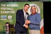 11 June 2019; Noel Mooney, FAI General Manager for Football Services and Partnerships, makes a presentation to David Mahedy, UL director of sport, during the launch of the FAI National Football Exhibition at UL Sports Arena, University of Limerick. Photo by Diarmuid Greene/Sportsfile