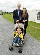 11 June 2019; Republic of Ireland manager Mick McCarthy with Aoife Drohan and her 1-year-old son Beau Drohan prior to the Kennedy Cup at the launch of the FAI National Football Exhibition at UL Sports Arena, University of Limerick. Photo by Diarmuid Greene/Sportsfile