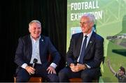 11 June 2019; Former Republic of Ireland player Ray Houghton, left, and Republic of Ireland manager Mick McCarthy at the launch of the FAI National Football Exhibition at UL Sports Arena, University of Limerick. Photo by Diarmuid Greene/Sportsfile