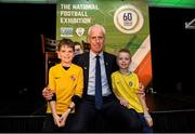 11 June 2019; Republic of Ireland manager Mick McCarthy with Aisling Annacotty FC players Nathan Fitzpatrick aged 11, and Mason Fitzpatrick, aged 9, grandchildren of former Limerick FC goalkeeper Kevin Fitzpatrick, at the launch of the FAI National Football Exhibition at UL Sports Arena, University of Limerick. Photo by Diarmuid Greene/Sportsfile