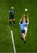 9 June 2019; Brian Fenton of Dublin and Kevin Feely of Kildare contest the throw in from referee Conor Lane during the Leinster GAA Football Senior Championship semi-final match between Dublin and Kildare at Croke Park in Dublin. Photo by Stephen McCarthy/Sportsfile