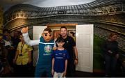 12 June 2019; EURO 2020 Ambassador Robbie Keane and EURO 2020 mascot Skillzy meet Keelan Hudson, aged 12, from Longford, during the EURO 2020 Ambassador Robbie Keane's visit to Children's Health Ireland at Crumlin in Dublin. Photo by Harry Murphy/Sportsfile