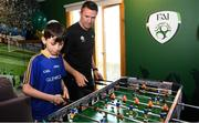 12 June 2019; EURO 2020 Ambassador Robbie Keane plays table football with Keelan Hudson, aged 12, from Longford during the EURO 2020 Ambassador Robbie Keane's visit to Children's Health Ireland at Crumlin in Dublin. Photo by Harry Murphy/Sportsfile