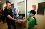 12 June 2019; EURO 2020 Ambassador Robbie Keane is greeted by Peter Cullinan, aged 10, from Dublin, during the EURO 2020 Ambassador Robbie Keane's visit to Children's Health Ireland at Crumlin in Dublin. Photo by Harry Murphy/Sportsfile