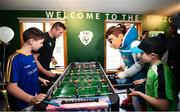 12 June 2019; EURO 2020 Ambassador Robbie Keane and EURO 2020 mascot Skillzy player table football with Keelan Hudson, aged 12, from Longford, left, and Peter Cullinan, aged 10, from Dublin during the EURO 2020 Ambassador Robbie Keane's visit to Children's Health Ireland at Crumlin in Dublin. Photo by Harry Murphy/Sportsfile