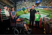 12 June 2019; EURO 2020 Ambassador Robbie Keane speaks in the FAI Fanzone with Danny Quinsey, left, aged 7 from Enniscorthy, Co. Wexford, and Peter Cullinan, aged 10, from Dublin during the EURO 2020 Ambassador Robbie Keane's visit to Children's Health Ireland at Crumlin in Dublin. Photo by Harry Murphy/Sportsfile