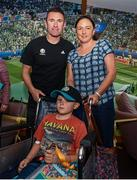 12 June 2019; EURO 2020 Ambassador Robbie Keane poses for a photo with Danny Quinsey, aged 7, and his mother Geraldine, from Enniscorthy, Co. Wexford, during the EURO 2020 Ambassador Robbie Keane's visit to Children's Health Ireland at Crumlin in Dublin. Photo by Harry Murphy/Sportsfile