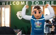12 June 2019; EURO 2020 mascot Skillzy in the Fanzone during the EURO 2020 Ambassador Robbie Keane's visit to Children's Health Ireland at Crumlin in Dublin. Photo by Harry Murphy/Sportsfile