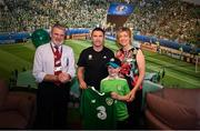 12 June 2019; EURO 2020 Ambassador Robbie Keane presents a signed Republic of Ireland jersey to the hospital, recieved by Peter Cullinan, aged 10, from Dublin, Site CEO Proffesor Sean Walsh and Director of Nursing Tracey Wall during the EURO 2020 Ambassador Robbie Keane's visit to Children's Health Ireland at Crumlin in Dublin. Photo by Harry Murphy/Sportsfile