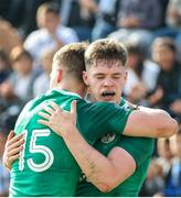 12 June 2019; Rob Russell of Ireland celebrates after scoring a try with Jake Flannery of Ireland during the World Rugby U20 Championship Pool B match between Ireland and Italy at Club De Rugby Ateneo Inmaculada, Santa Fe in Argentina. Photo by Florencia Tan Jun/Sportsfile