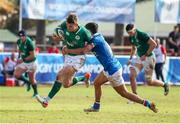 12 June 2019; Jake Flannery of Ireland is tackled by Alessandro Fusco of Italy during the World Rugby U20 Championship Pool B match between Ireland and Italy at Club De Rugby Ateneo Inmaculada, Santa Fe in Argentina. Photo by Florencia Tan Jun/Sportsfile