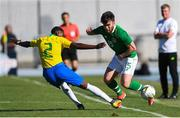 12 June 2019; Aaron Connolly of Republic of Ireland in action against Emerson Aparecido of Brazil during the 2019 Maurice Revello Toulon Tournament Semi-Final match between  Brazil and Republic of Ireland at Stade De Lattre in Aubagne, France. Photo by Alexandre Dimou/Sportsfile