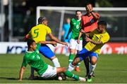 12 June 2019; Adam Idah of Ireland in action against Douglas Luiz and Matheus Henrique of Brazil during the 2019 Maurice Revello Toulon Tournament Semi-Final match between  Brazil and Republic of Ireland at Stade De Lattre in Aubagne, France. Photo by Alexandre Dimou/Sportsfile
