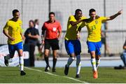 12 June 2019; Paulo Henrique, 33, of Brazil celebrates after scoring his side's first goal with team-mates during the 2019 Maurice Revello Toulon Tournament Semi-Final match between  Brazil and Republic of Ireland at Stade De Lattre in Aubagne, France. Photo by Alexandre Dimou/Sportsfile
