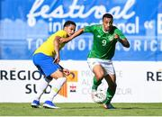 12 June 2019; Adam Idah of Ireland in action against Murilo Cerqueira of Brazil during the 2019 Maurice Revello Toulon Tournament Semi-Final match between  Brazil and Republic of Ireland at Stade De Lattre in Aubagne, France. Photo by Alexandre Dimou/Sportsfile
