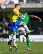 12 June 2019; Adam Idah of Ireland in action against Lyanco Evangelista of Brazil during the 2019 Maurice Revello Toulon Tournament Semi-Final match between  Brazil and Republic of Ireland at Stade De Lattre in Aubagne, France. Photo by Alexandre Dimou/Sportsfile