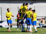 12 June 2019; The Brazil team celebrates their first goal during the 2019 Maurice Revello Toulon Tournament Semi-Final match between Brazil and Republic of Ireland at Stade De Lattre in Aubagne, France. Photo by Alexandre Dimou