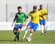 12 June 2019; Aaron Connolly of Ireland in action against Lyanco Evangelista of Brazil during the 2019 Maurice Revello Toulon Tournament Semi-Final match between Brazil and Republic of Ireland at Stade De Lattre in Aubagne, France. Photo by Alexandre Dimou