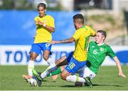 12 June 2019; Conor Coventry of Ireland in action against Matheus Henrique of Brazil during the 2019 Maurice Revello Toulon Tournament Semi-Final match between Brazil and Republic of Ireland at Stade De Lattre in Aubagne, France. Photo by Alexandre Dimou