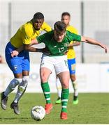 12 June 2019; Aaron Connolly of Ireland in action against Emerson Aparecido of Brazil during the 2019 Maurice Revello Toulon Tournament Semi-Final match between  Brazil and Republic of Ireland at Stade De Lattre in Aubagne, France. Photo by Alexandre Dimou