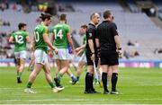 9 June 2019; Linesman Brendan Cawley, left, speaking with referee Joe McQuillan during the Leinster GAA Football Senior Championship Semi-Final match between Meath and Laois at Croke Park in Dublin. Photo by Piaras Ó Mídheach/Sportsfile