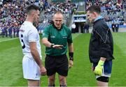 9 June 2019; Referee Conor Lane with team captains Eoin Doyle of Kildare and Stephen Cluxton of Dublin before the Leinster GAA Football Senior Championship Semi-Final match between Dublin and Kildare at Croke Park in Dublin. Photo by Piaras Ó Mídheach/Sportsfile
