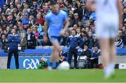 9 June 2019; Kildare manager Cian O'Neill, left, and head coach Alan Flynn look on during the Leinster GAA Football Senior Championship Semi-Final match between Dublin and Kildare at Croke Park in Dublin. Photo by Piaras Ó Mídheach/Sportsfile