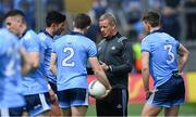 9 June 2019; Dublin selector Declan Darcy speaks with players, from left, Cian O'Sullivan, David Byrne, and Michael Fitzsimons before the Leinster GAA Football Senior Championship Semi-Final match between Dublin and Kildare at Croke Park in Dublin. Photo by Piaras Ó Mídheach/Sportsfile