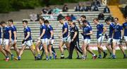 9 June 2019; Cavan manager Mickey Graham takes his players off for half time in the Ulster GAA Football Senior Championship Semi-Final Replay match between Cavan and Armagh at St Tiarnach's Park in Clones, Monaghan. Photo by Oliver McVeigh/Sportsfile