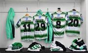 14 June 2019; Shamrock Rovers players' jerseys, from left, Sean Kavanagh, Jack Byrne, Ronan Finn and Trevor Clarke hang in the dressing room prior to the SSE Airtricity League Premier Division match between Bohemians and Shamrock Rovers at Dalymount Park in Dublin. Photo by Seb Daly/Sportsfile