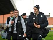 14 June 2019; Shamrock Rovers players Joey O'Brien, right, and Sean Kavanagh arrive prior to the SSE Airtricity League Premier Division match between Bohemians and Shamrock Rovers at Dalymount Park in Dublin. Photo by Seb Daly/Sportsfile