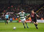 14 June 2019; Dylan Watts of Shamrock Rovers in action against Keith Buckley of Bohemians during the SSE Airtricity League Premier Division match between Bohemians and Shamrock Rovers at Dalymount Park in Dublin. Photo by Seb Daly/Sportsfile