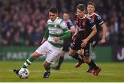 14 June 2019; Dylan Watts of Shamrock Rovers in action against Ryan Swan of Bohemians during the SSE Airtricity League Premier Division match between Bohemians and Shamrock Rovers at Dalymount Park in Dublin. Photo by Ben McShane/Sportsfile