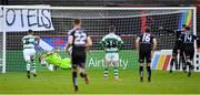 14 June 2019; Alan Mannus of Shamrock Rovers saves a penalty from Daniel Mandroiu of Bohemians during the SSE Airtricity League Premier Division match between Bohemians and Shamrock Rovers at Dalymount Park in Dublin. Photo by Seb Daly/Sportsfile