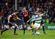 14 June 2019; Jack Byrne of Shamrock Rovers in action against Keith Buckley, left and Luke Wade-Slater of Bohemians during the SSE Airtricity League Premier Division match between Bohemians and Shamrock Rovers at Dalymount Park in Dublin. Photo by Seb Daly/Sportsfile