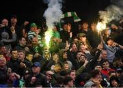 14 June 2019; Shamrock Rovers supporters celebrate following their side's first goal during the SSE Airtricity League Premier Division match between Bohemians and Shamrock Rovers at Dalymount Park in Dublin. Photo by Seb Daly/Sportsfile