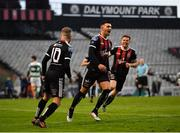 14 June 2019; Daniel Mandroiu of Bohemians, centre, celebrates after scoring his side's second goal during the SSE Airtricity League Premier Division match between Bohemians and Shamrock Rovers at Dalymount Park in Dublin. Photo by Seb Daly/Sportsfile
