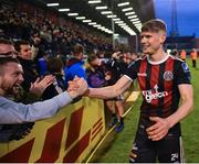 14 June 2019; Ryan Swan of Bohemians celebrates with supporters following his side's victory after the SSE Airtricity League Premier Division match between Bohemians and Shamrock Rovers at Dalymount Park in Dublin. Photo by Seb Daly/Sportsfile