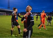 14 June 2019; Keith Ward of Bohemians celebrates following his side's victory after the SSE Airtricity League Premier Division match between Bohemians and Shamrock Rovers at Dalymount Park in Dublin. Photo by Seb Daly/Sportsfile