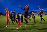 14 June 2019; Andy Lyons of Bohemians, centre, celebrates with team-mates following his side's victory after the SSE Airtricity League Premier Division match between Bohemians and Shamrock Rovers at Dalymount Park in Dublin. Photo by Seb Daly/Sportsfile