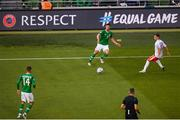 10 June 2019; Enda Stevens of Republic of Ireland in action against Andrew Hernandez of Gibraltar during the UEFA EURO2020 Qualifier Group D match between Republic of Ireland and Gibraltar at the Aviva Stadium, Lansdowne Road in Dublin. Photo by Eóin Noonan/Sportsfile