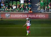 10 June 2019; Shane Duffy of Republic of Ireland in action against Lee Casciaro of Gibraltar during the UEFA EURO2020 Qualifier Group D match between Republic of Ireland and Gibraltar at the Aviva Stadium, Lansdowne Road in Dublin. Photo by Eóin Noonan/Sportsfile
