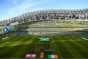 10 June 2019; Teams line up ahead of the UEFA EURO2020 Qualifier Group D match between Republic of Ireland and Gibraltar at the Aviva Stadium, Lansdowne Road in Dublin. Photo by Eóin Noonan/Sportsfile