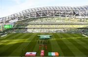 10 June 2019; General view of the pitch before the teams come out ahead of the UEFA EURO2020 Qualifier Group D match between Republic of Ireland and Gibraltar at the Aviva Stadium, Lansdowne Road in Dublin. Photo by Eóin Noonan/Sportsfile