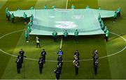 10 June 2019; Garda band ahead of the UEFA EURO2020 Qualifier Group D match between Republic of Ireland and Gibraltar at the Aviva Stadium, Lansdowne Road in Dublin. Photo by Eóin Noonan/Sportsfile