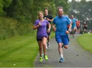 15 June 2019; parkrun participant Tricia Gough and Lorcan Sweeney, from Lucan, Dublin, are pictured as they finish the Griffeen parkrun where Vhi hosted a special Roadshow event to celebrate their partnership with parkrun Ireland. Vhi ambassador and Olympian David Gillick was on hand to lead the warm up for parkrun participants before completing the 5km free event. Parkrunners enjoyed refreshments post event at the Vhi Rehydrate, Relax, Refuel and Reward areas where a physiotherapist took participants through a post event stretching routine. Parkrun in partnership with Vhi support local communities in organising free, weekly, timed 5k runs every Saturday at 9.30am. To register for a parkrun near you visit www.parkrun.ie.  Photo by Seb Daly/Sportsfile