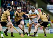 15 June 2019; Shane Dooley of Offaly in action against James O'Connor, Daniel Collins and Seán Weir of Kerry during the Joe McDonagh Cup Round 5 match between Kerry and Offaly at Austin Stack Park, Tralee in Kerry. Photo by Brendan Moran/Sportsfile
